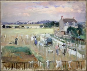 Like most impressionist work, Hanging the Laundry out to Dry is an extremely ephemeral picture, largely due to the lack of defined lines in the picture. The perspective of the picture is a very interesting one, as it has the viewer almost at a distance, as if one were looking at the laundry scene from a good distance away. The color palate is a very soft one with lots of muted pastels. There seems to be some kind of city or town on the horizon of the picture, which I found interesting. Overall the picture gives the same kind of gauzy effect that walking through laundry hanging out to dry on clotheslines gives you, which I really liked because I always find it really impressive whenever a painting's subject reflects the viewer's response to the painting.